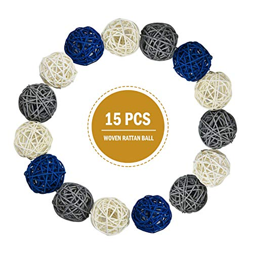 Timoo Rattan Balls Decorative, 15 Pack Wicker Balls for Home Decor Aromatherapy Accessories Wedding Decoration Baby Shower Table Decoration, 2 Inch (Blue, Gray, White)
