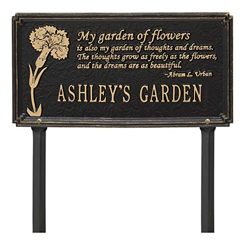 (Whitehall Personalized 1 Line Dianthus Aluminum Garden Lawn Plaque with Quote - 16.5