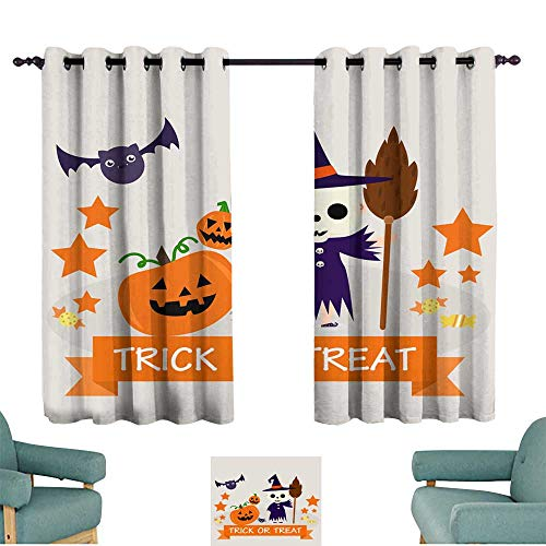Warm Family Customized Curtains Halloween Background with Lovely Costumes Noise Reducing]()