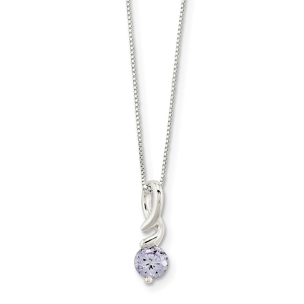 Purple CZ Pendant W Chain In 925 Sterling Silver 14x9mm 18 Inches