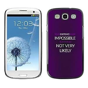 KLONGSHOP // Cubierta de piel con cierre a presión Shell trasero duro de goma Protección Caso - Cartel Imposible - Samsung Galaxy S3 //