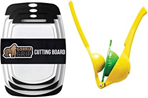 Gorilla Grip Cutting Board Set of 3 and Citrus Squeezer, Cutting Boards are Dishwasher Safe, Manual Hand Juicer Good for Limes, Lemons, and Fruit, 2 Item Bundle