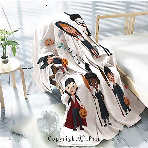 Printed Flannel Sherpa Back Blanket,Cute Halloween Kids Set Cartoon Vector Illustration Rustic Home Decor Decorative,One Side Printing,W47.2 xH59.1
