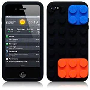 OnlineBestDigital - Brick Style Soft Silicone Case for Apple iPhone 4S / Apple iPhone 4 - Black with 3 Screen Protectors and Stylus