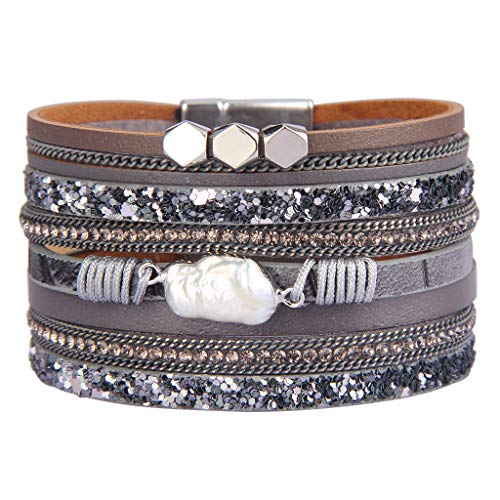 Jenia Baroque Pearl Leather Cuff Bracelet Multiple Strand Wrap Bracelets Magnetic Braided Bangle Bohemian Gift for Women, Teens Girls, Wife, Sister - Gray Baroque Pearl
