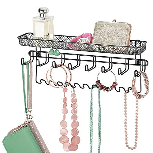 mDesign Decorative Metal Closet Wall Mount Jewelry Accessory Organizer for Storage of Necklaces, Bracelets, Rings, Earrings, Sunglasses, Wallets - 8 Large /11 Small Hooks, 1 Basket - Black from mDesign