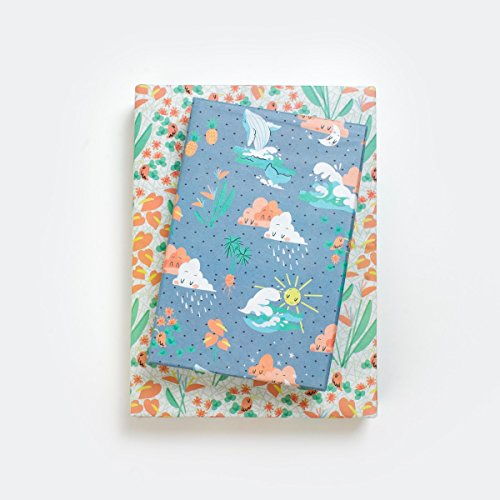 Happy Hawaii/Kawaii Waves, Whales, Sunshine & Rain Clouds Designer Gift Wrap (6 Sheet Value Pack) - Reversible - Eco-friendly Wrapping Paper By Wrappily ()