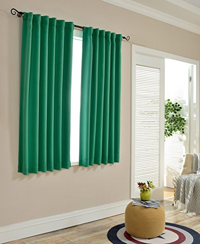 MYSKY HOME Short Blackout Curtain Drapes for Bedroom by Thermal Insulated Back Tap and Rod Pocket Room Darkening Curtain Panels for Living Room (Green, 52″ Width by 63″ Length, Set of 2 Drapes)