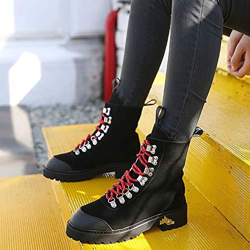 R Signore Cuoio Genuino Womens Stivaletto Black Stivaletti Militari Martin Retro Escursionismo Locomotive Heel YR Lace Up Stivali Thick Boots Scrub d56nw8S