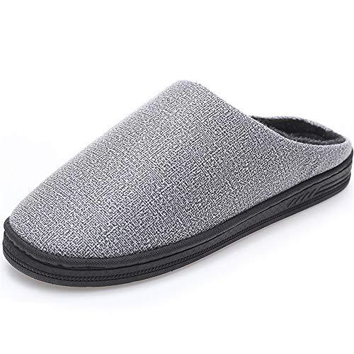 Chaussures Anti Léger Hommes Hiver Fourrure Slip Slipper Poids Intérieur Pantoufles Kemosen Chaussons Faux Femme Peluche Gris qBgPS67