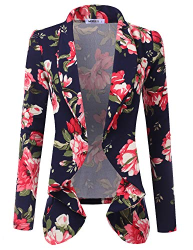 Doublju Classic Draped Open Front Blazer for Women with Plus Size NAVYPINK 3X -
