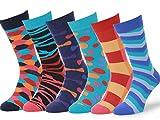 #5: Easton Marlowe Mens 6 Pk Colorful Patterned Dress Socks, European Made