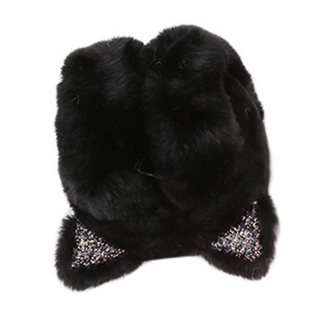 Edited Women Cartoon Cat Ears Design Windproof Warm Adjustable Earmuffs
