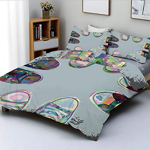 (Duplex Print Duvet Cover Set Full Size,Teen Rubber Rebel Rocker Shoes in Street Squad Friends Gang Abstract ImageDecorative 3 Piece Bedding Set with 2 Pillow Sham,Multicolor,Best Gift For Kids & Adult)