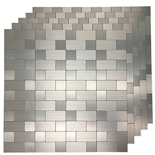 Art3d 5 Piece Peel and Stick Tile Metal Backsplash for Kitchen, Silver Aluminum Surface (5 Piece Decorative Tile)