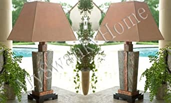Gorgeous SLATE STONE and COPPER Table LAMP Indoor Outdoor PAIR ...