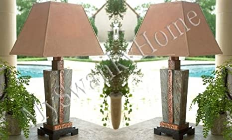 Delightful Gorgeous SLATE STONE And COPPER Table LAMP Indoor Outdoor PAIR   Art Deco Table  Lamp   Amazon.com