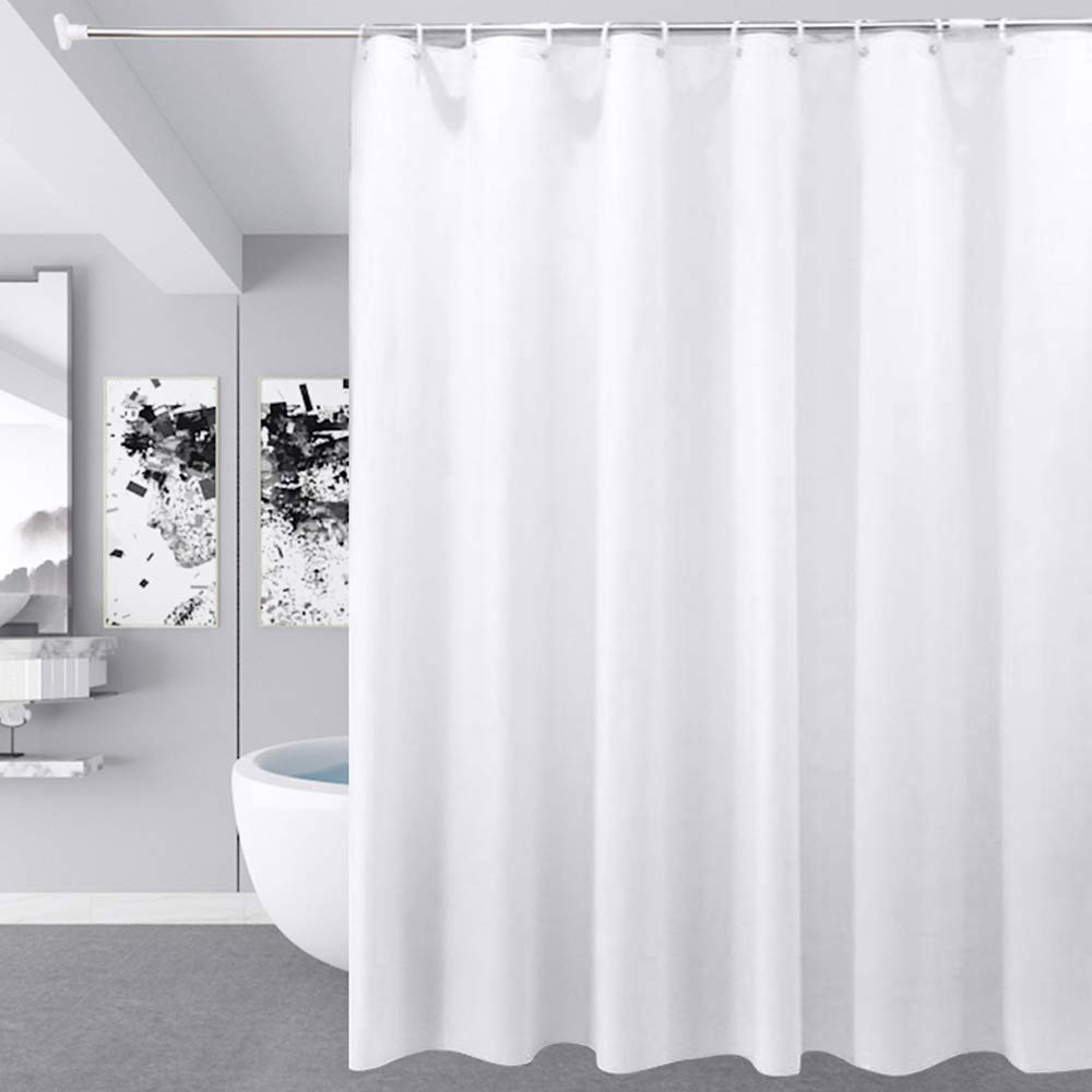 180x180cm, 72x72inch Mould Proof and Mildew Resistant Washable Waterproof Polyester Bathroom Curtains w// 12pcs Hooks BlueCosto White Shower Curtain