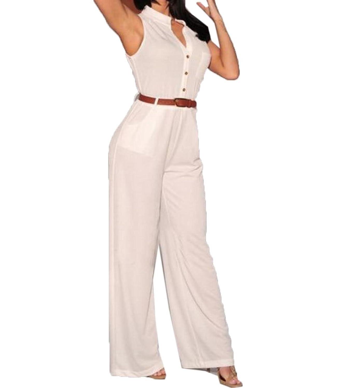 Abetteric Women's Wide Leg Solid Stylish V Neck Tank Top Rompers Pants