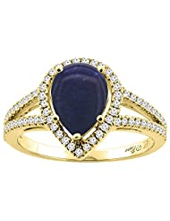 14K Gold Natural Lapis Ring Pear Shape 9x7 mm Diamond Accents, sizes 5 - 10