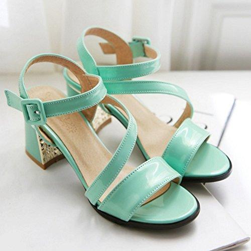 Zapatos Slingback tobillo Ancho Sandalias Verde RAZAMAZA Correa Moda de Mujer Tacon XqwnYz8xE