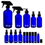 Cobalt Blue Glass 15 Piece Starter Set Kit - Includes 1 -16 oz Trigger Sprayer Bottle, 1 -8 oz Trigger Spray Bottle, 1 -8 oz Lotion Pump Bottle, 2 -4 oz Fine Mist Spray Bottles, 2 -2 oz Fine Mist Spray Bottles, 1 -2 oz Treatment Pump Bottle, 1 -2 oz Dropper Bottle, and 6 -10 ml Roll On Bottles + Labels