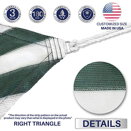 Windscreen4less 13 x 18 x 22 Right Triangle Sun Shade Sail with 8 inch Hardware Kit – Wide Green Stripes White Stripes Durable UV Shelter Canopy for Patio Outdoor Backyard – Custom