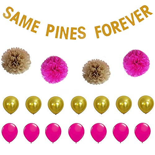 MAGQOO Bachelorette Party Decoration Kit Set Bridal Shower Supplies-Same P Forever Banner,Rose Red and Camel Paper Flower 14 Pieces Balloons Hen Night Party Photo Prop ()