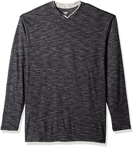 LEE Men's Big and Tall Tipping Long Sleeve Vneck Neck Shirt, Black-1, 5XB (Big And Tall Mens Clothing V Neck)