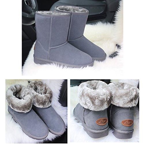 Calde Boots Donne Scarpe Neve Fexkean Impermeabile grigio Donna Stivali Leather Stivali Invernali da Pelliccia q6wgSaB