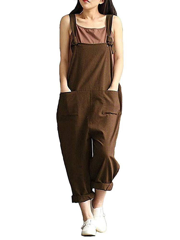Rrive Womens Pockets Linen Casual Overalls Baggy Sleeveless Romper Jumpsuits