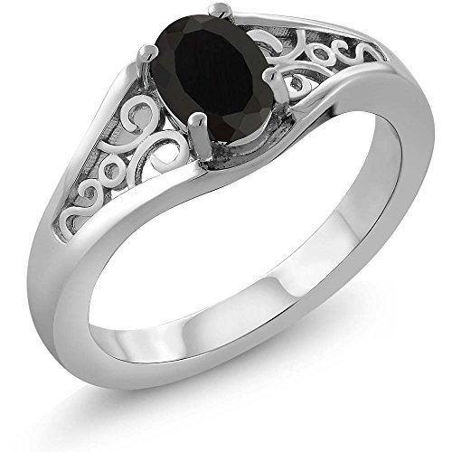 Black Onyx Women's Solitaire Ring 0.68 cttw Oval 7x5mm. (Available 5,6,7,8,9) (Size 5) ()