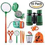Adventure Kids - Outdoor Explorer Exploration Children's Toys Kit- Binoculars, Flashlight, Compass, Magnifying Glass, Whistle, Butterfly Net for Educational, Camping, Hiking, Backyard (10 Pack)
