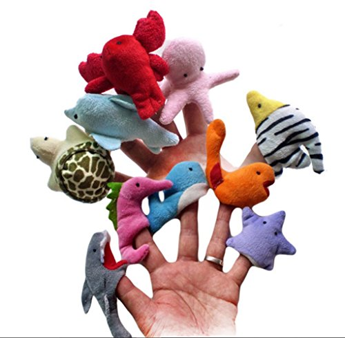 10pcs Funny Sea Marine Animals Hand Puppet Cute Starfish Octopus Shark Dolphin Sealion Whale Puppets for Kids Gift