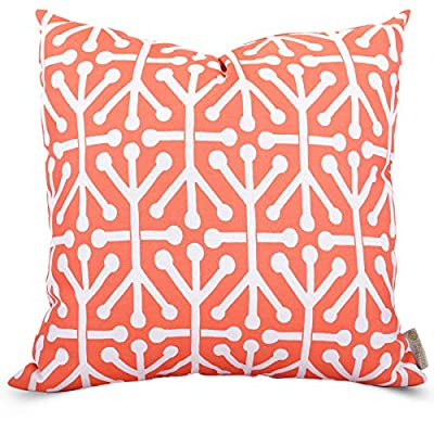 "Majestic Home Goods Orange Aruba Indoor/Outdoor Large Pillow 20"" L x 8"" W x 20"" H - Dimensions - 20 in. x 8 in. x 20 in. (approx.) Perfect convenient size for all indoor and outdoor environments. U.V. Treated Covers - these throw pillows uses an outdoor treated polyester cover that offers up to 1000 hours of protection. Water & stain resistance. Ultra Comfortable - the pillows are filled with our Super High Loft PolyFiber Fill to give them an ultra-soft cushion feel. - living-room-soft-furnishings, living-room, decorative-pillows - 51dnlQQ nzL. SS400  -"