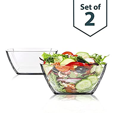Square Clear Thick Glass Bowls, Set of 2 - For Serving Salad, Fruit, Desserts and Party (Dishwasher Safe)