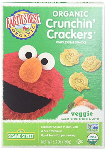 Earths Best Crackers - Organic - Crunchin Crackers - Veggie - Snack - 5.3 oz - case of 6 - Crunchin Crackers