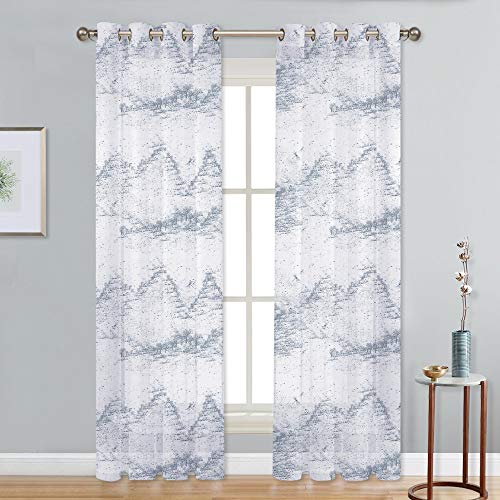 NICETOWN Grommet Sheer Voile Window Treatment Curtains Drapes with Nature Majestic Mountains with Forest and Dragonflies Pattern for Living Room (1 Panel = 52