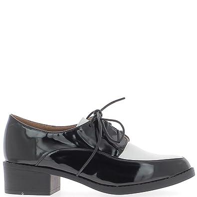 Mocasines Mujer Negro Barniz Encaje con Tapa Blanco: Amazon.es: Zapatos y complementos