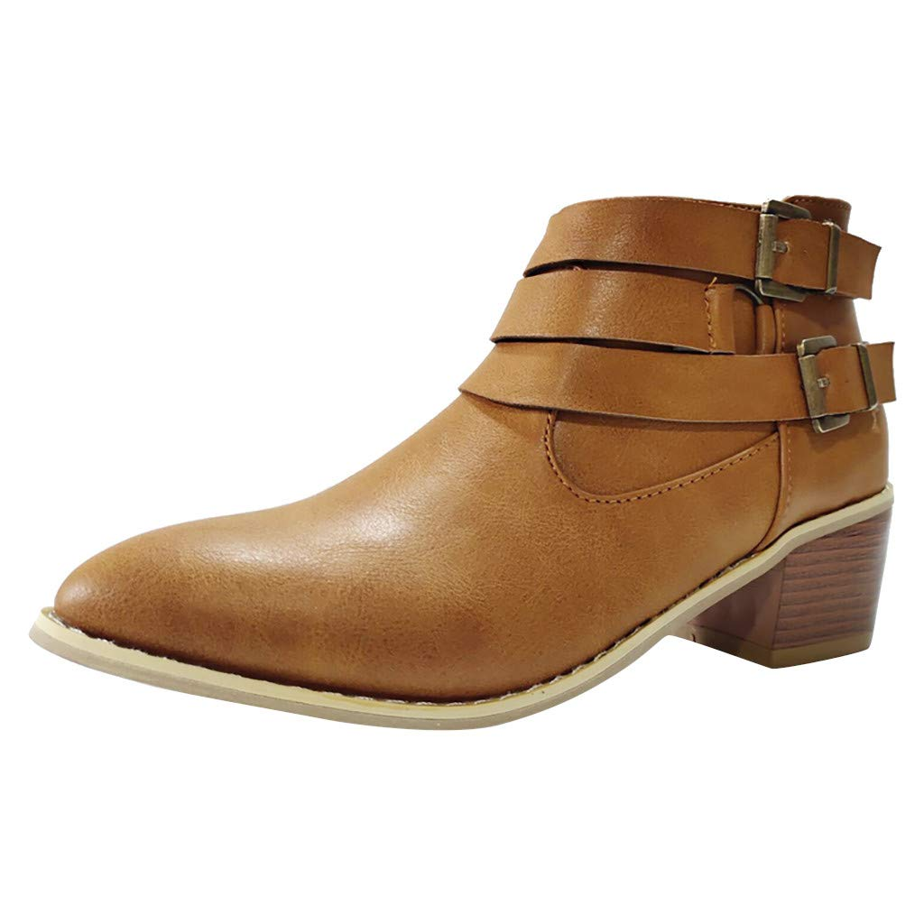Dermanony Women's Double Buckle Side Zipper Boots Vintage Ankle Rome Pointed Toe Casual Single Shoes Short Boots Brown by Dermanony _Shoes