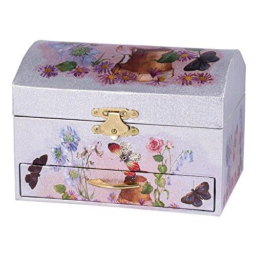 - Silver and Pink Fairy Ballerina Swan Lake Music Jewelry Box