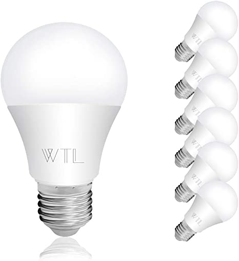 Wtl 6 Pack A19 Led Light Bulbs Ul Listed 6w 40w Equivalent 550lm Non Dimmable E26 Medium Base Daylight 5000k For Home Living Room Bedroom Commercial Lighting Amazon Com