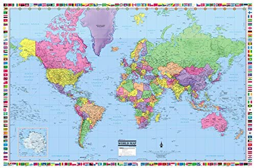 Amazon Com Coolowlmaps World Wall Map Political With Flags Poster