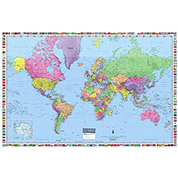 Amazon coolowlmaps world wall map political with flags poster coolowlmaps world wall map political with flags poster 36x24 rolled laminated 2018 gumiabroncs Gallery