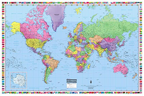 CoolOwlMaps World Wall Map Political with Flags Poster 36x24 Rolled Laminated - 2018
