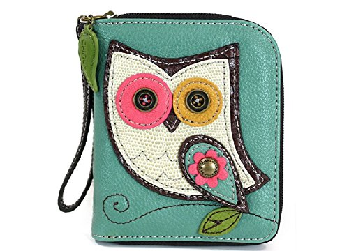 (CHALA Zip Around Wallet, Wristlet, 8 Credit Card Slots, Sturdy Pu Leather - Owl - Teal)