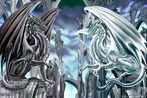 Checkmate Dragons Mural Giant Poster by Ruth Thompson 36x54 inch