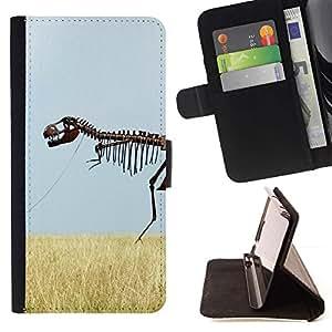 Momo Phone Case / Flip Funda de Cuero Case Cover - Esqueleto del dinosaurio Campo Cielo Hierba Naturaleza - Sony Xperia M4 Aqua