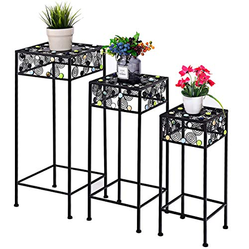 Giantex Set of 3 Plant Stand Metal and Ceramic Indoor Outdoor Flower Pot Rack Stand Set 27.5-Inch, 23.5-Inch, 19.5-Inch (Square)