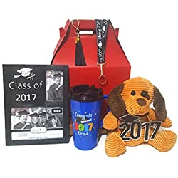 """Congrats Grad"" 2017 Keepsake Graduate Gift Set with Teddy Bear, Travel Mug, Starbucks Peppermint Cocoa, Tassle, Lanyard, and Key Ring"